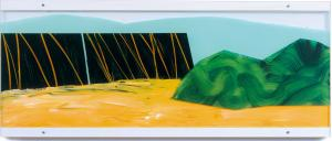 Painting on acrylic glas 1 – <b>Großes Land-Stück 1 (Col de Chiaula)</b>, Acrylic painting / oil pastels on acrylic glass, two-piece, total 42 x 100 x 3 cm, 2000