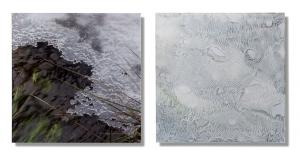 Photo/Painting Correspondence – <b>Baldenau 1.2. (diptych)</b>, C-Print/Diaplex and painting on acrylic glass, each 50 x 50 x 2 cm, 2012
