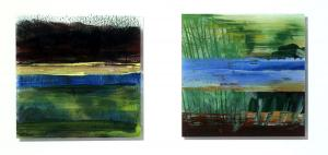 Painting on acrylic glas 1 – <b>Bathorner Moor 2</b> and <b>UnterÜberWasser</b>, Acrylic painting behind acrylic glass, each 50 x 50 cm, 2008