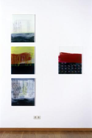 Painting on acrylic glas 1 – <b>Niederrhein I, II, Grafschafter Moor</b> and <b>Untertage II</b>, Acrylic painting behind acrylic glass, each 60 x 50 cm, 2006