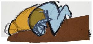 Works on paper – <b>Small Reclining 7</b>, paint stick and various papers, collage on paper, 23 x 56 cm, 2004
