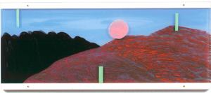 Painting on acrylic glas 1 – <b>Großes Land-Stück 4 (with ball)</b>, Acrylic painting / oil pastels on acrylic glass, two-piece, total 42 x 100 x 3 cm, 2000