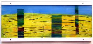 Painting on acrylic glas 1 – <b>Land-Stück 14</b>, Acrylic painting / oil pastels on acrylic glass, two-piece, total 22 x 50 x 2 cm, 2000