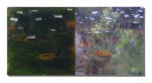 Photo/Painting Correspondence – <b>Laghey River I (diptych)</b>, Painting and C-Print/Diaplex on acrylic glass, each 50 x 50 x 2 cm, 2011