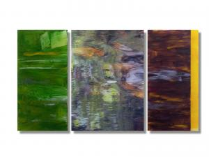 Photo/Painting Correspondence – <b>Laghey River III (triptych)</b>, Painting and C-Print/Diaplex on acrylic glass, totally 70 x 125 x 3 cm, 2013