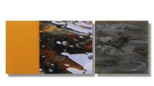 Photo/Painting Correspondence – <b>Laghey River IV (triptych)</b>, Painting on acrylic glass and C-Print/Diaplex, totally 50 x 135 x 3 cm, 2014