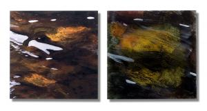 Photo/Painting Correspondence – <b>Laghey River II (diptych)</b>, C-Print/Diaplex and painting on acrylic glass, each 50 x 50 x 2 cm, 2012