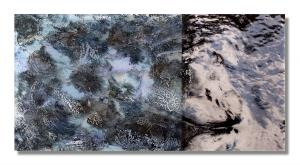 Photo/Painting Correspondence – <b>Loch Fascally (diptych)</b>, C-Print/Diaplex and painting on acrylic glass, 35 x 70 x 2 cm, 2012