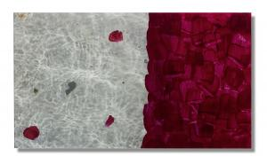 Photo/Painting Correspondence – <b>RosenWasser (diptych)</b>, C-Print/Diaplex and painting on acrylic glass, 50 x 80 x 2 cm, 2012