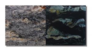 Photo/Painting Correspondence – <b>SteinWasser (diptych)</b>, C-Print/Diaplex and painting on acrylic glass, each 50 x 50 x 2 cm, 2011