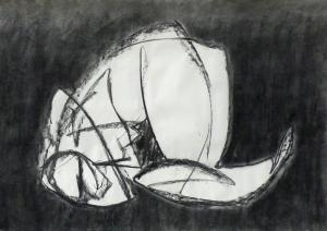 Works on paper – <b> o.T. (from the Erfurt cycle) </b> graphite pencil on paper, 70 x 100 cm, 2010