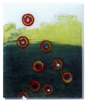 Painting on acrylic glas 1 – <b>o.T. (with circles)</b>, Acrylic painting behind acrylic glass, 60 x 50 cm, 2009
